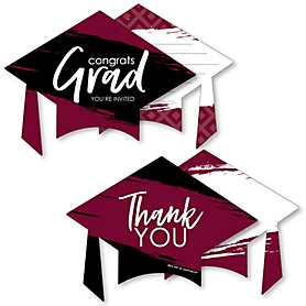 Maroon Grad - Best is Yet to Come - 20 Shaped Fill-In Invitations and 20 Shaped Thank You Cards Kit - Burgundy Graduation Party Stationery Kit - 40 Pack