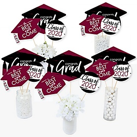 Maroon Grad - Best is Yet to Come - 2020 Maroon Graduation Party Centerpiece Sticks - Table Toppers - Set of 15