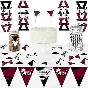 Maroon Grad - Best is Yet to Come - DIY Pennant Banner Decorations - Burgundy Graduation Party Triangle Kit - 99 Pieces