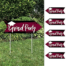 Maroon Grad - Best is Yet to Come - Arrow Graduation Party Direction Signs - Double Sided Outdoor Yard Signs - Set of 6