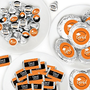 Orange Grad - Best is Yet to Come - Mini Candy Bar Wrappers, Round Candy Stickers and Circle Stickers - 2020 Orange Graduation Party Candy Favor Sticker Kit - 304 Pieces