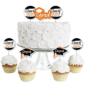 Orange Grad - Best is Yet to Come - Dessert Cupcake Toppers - Orange 2020 Graduation Party Clear Treat Picks - Set of 24