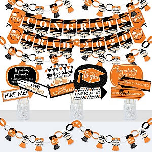 Orange Grad - Best is Yet to Come - Banner and Photo Booth Decorations - 2020 Orange Graduation Party Supplies Kit - Doterrific Bundle