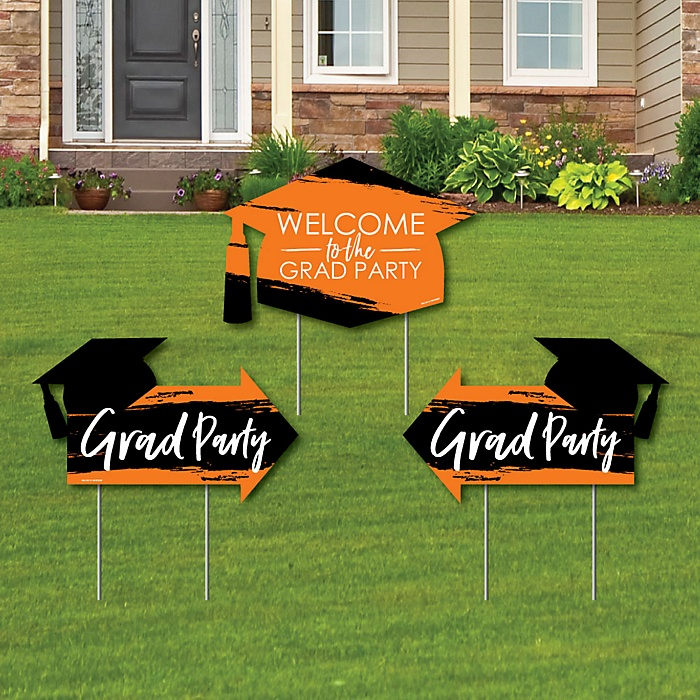Orange Grad - Best is Yet to Come - 2 Orange Graduation Party Arrows and 1 Welcome / Thank You Lawn Sign - Double Sided Grad Yard Sign Set - 3 Pieces