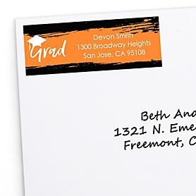 Orange Grad - Best is Yet to Come - Personalized Graduation Return Address Labels - 30 ct