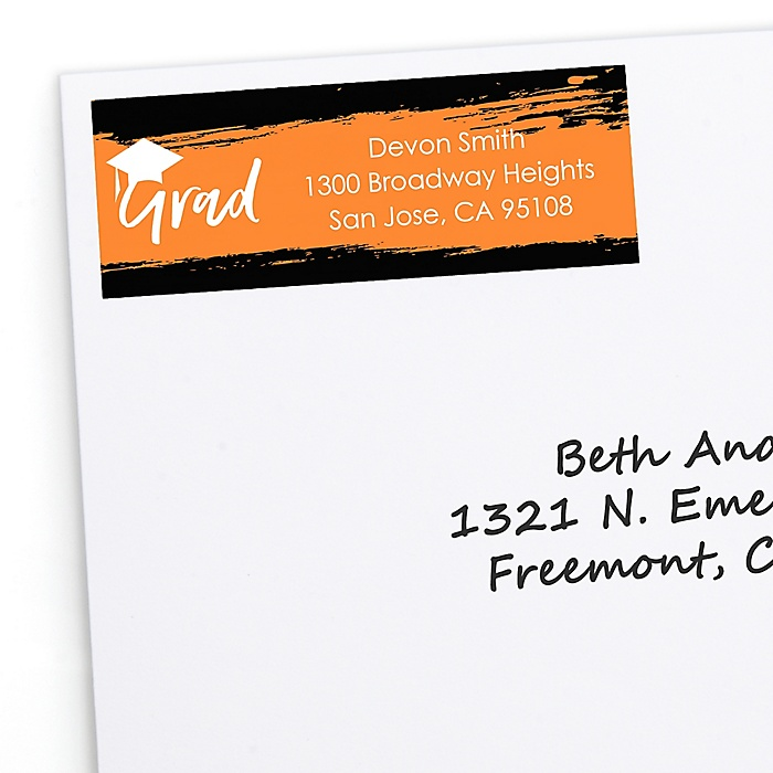 Orange Grad - Best is Yet to Come - Personalized Graduation Return Address Labels - 30 ct