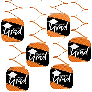 Orange Grad - Best is Yet to Come - Graduation Party Hanging Decorations - 6 ct