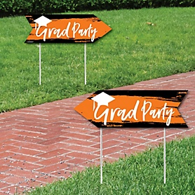 Orange Grad - Best is Yet to Come - Graduation Party Sign Arrow - Double Sided Directional Yard Signs - Set of 2