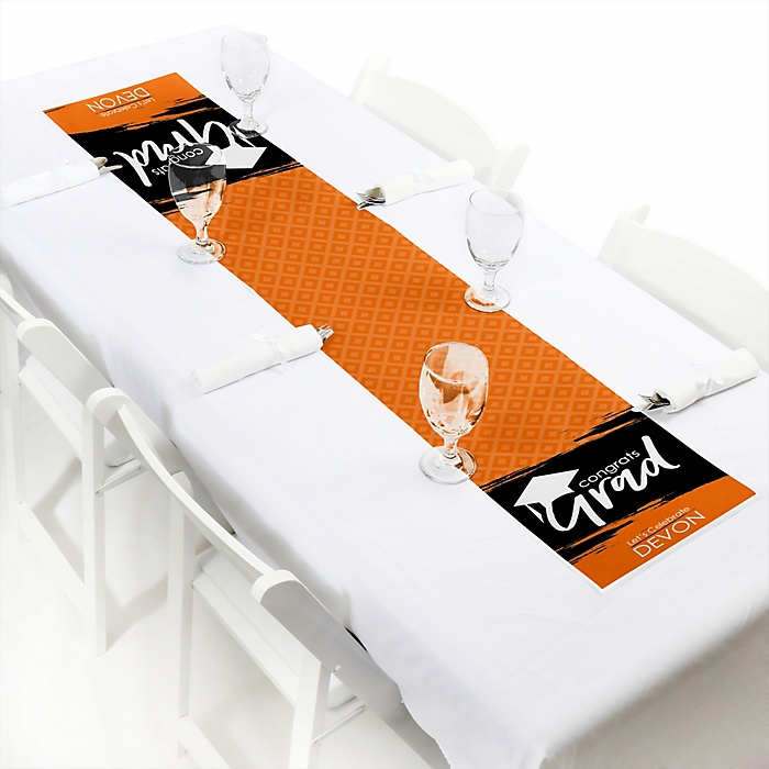 Orange Grad - Best is Yet to Come  - Personalized Graduation Party Petite Table Runner