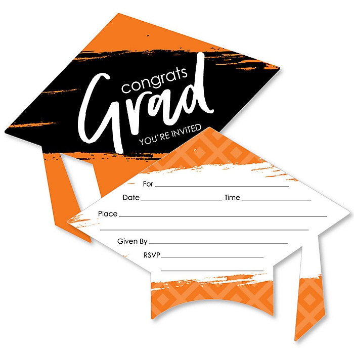 Orange Grad - Best is Yet to Come - Shaped Fill-In Invitations - Graduation Party Invitation Cards with Envelopes - Set of 12