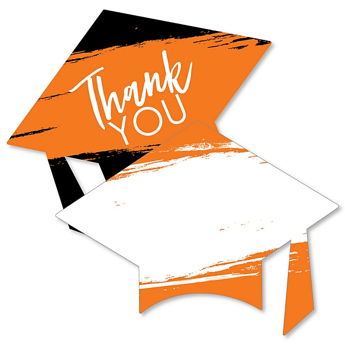 Orange Grad - Best is Yet to Come - Shaped Thank You Cards - Orange Graduation Party Thank You Note Cards with Envelopes - Set of 12