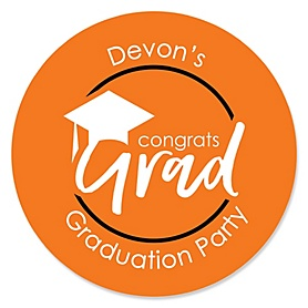 Orange Grad - Best is Yet to Come - Personalized Graduation Sticker Labels - 24 ct