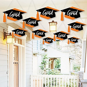 Hanging Orange Grad - Best is Yet to Come - Outdoor Graduation Party Hanging Porch & Tree Yard Decorations - 10 Pieces