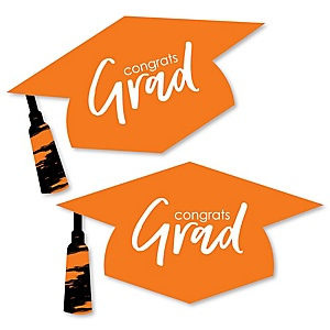 Orange Grad - Best is Yet to Come - Graduation Hat Decorations DIY Large Orange Graduation Party Essentials - 20 Count