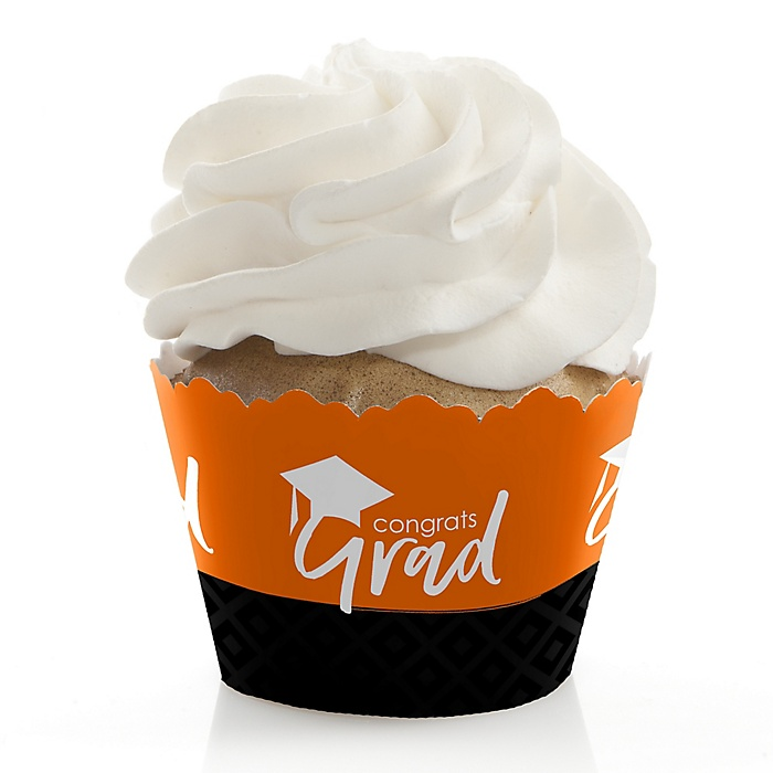 Orange Grad - Best is Yet to Come - Graduation Decorations - Party Cupcake Wrappers - Set of 12