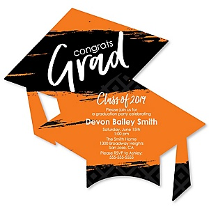 Orange Grad - Best is Yet to Come - Personalized 2019 Graduation Invitations - Set of 12