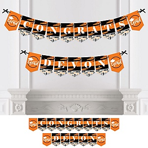 Orange Grad - Best is Yet to Come - Personalized 2019 Graduation Party Bunting Banner & Decorations