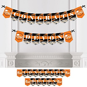 Orange Grad - Best is Yet to Come - Personalized 2020 Graduation Party Bunting Banner & Decorations