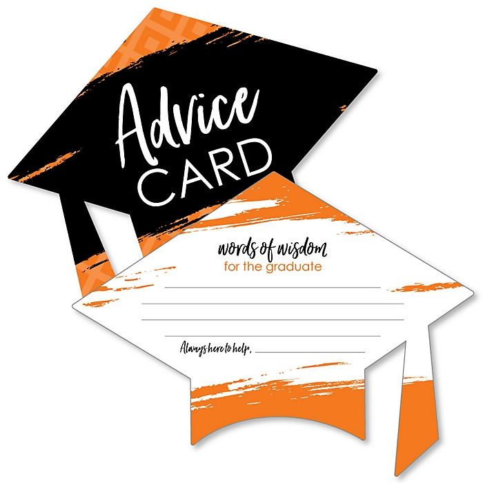 Orange Grad - Best is Yet to Come - Orange Grad Cap Wish Card Graduation Party Activities - Shaped Advice Cards Games - Set of 20