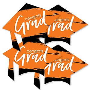 Orange Grad - Best is Yet to Come - Grad Cap Decorations DIY Orange Graduation Party Essentials - Set of 20