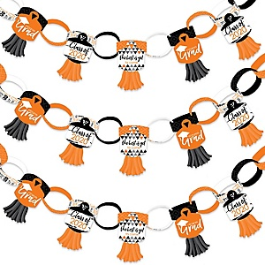 Orange Grad - Best is Yet to Come - 90 Chain Links and 30 Paper Tassels Decoration Kit - 2020 Orange Graduation Party Paper Chains Garland - 21 feet