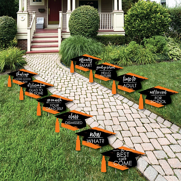 Orange Grad - Best is Yet to Come - Grad Cap Lawn Decorations - Outdoor Orange Graduation Party Yard Decorations - 10 Piece