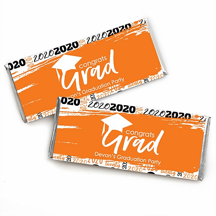 Orange Grad - Best is Yet to Come - Personalized Candy Bar Wrappers Graduation Party Favors - Set of 24