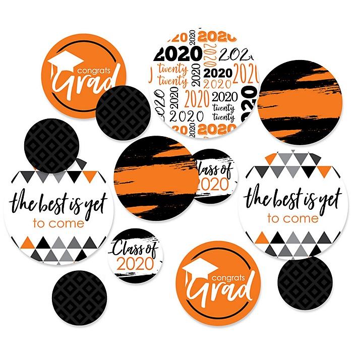 Orange Grad - Best is Yet to Come - 2020 Graduation Party Giant Circle Confetti - Orange Grad Party Decorations - Large Confetti 27 Count