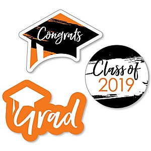 Orange Grad - Best is Yet to Come - DIY Shaped 2019 Graduation Party Paper Cut-Outs - 24 ct