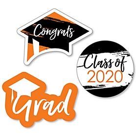 Orange Grad - Best is Yet to Come - DIY Shaped 2020 Graduation Party Paper Cut-Outs - 24 ct