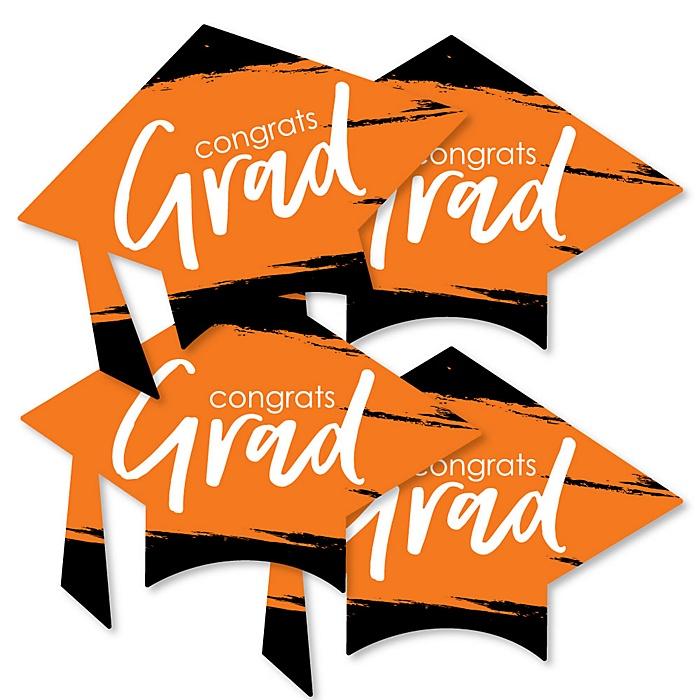 Orange Grad - Best is Yet to Come - Grad Cap Decorations DIY Orange Graduation Party Essentials - Set of 20
