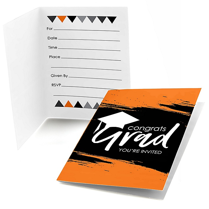 Orange Grad - Best is Yet to Come - Graduation Party Fill In Invitations - 8 ct