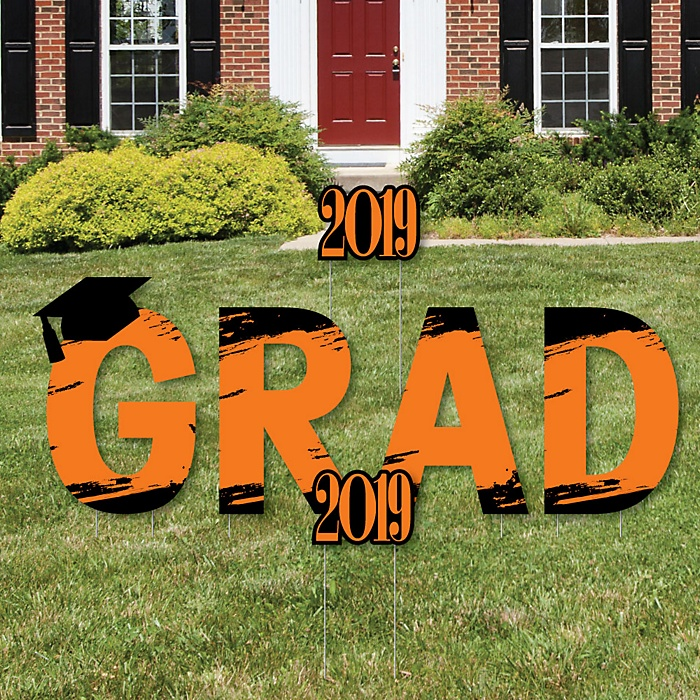 GRAD - Orange Grad - Best is Yet to Come - Yard Sign Outdoor Lawn Decorations - Orange 2019 Graduation Party Yard Signs
