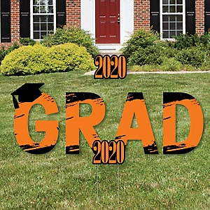 GRAD - Orange Grad - Best is Yet to Come - Yard Sign Outdoor Lawn Decorations - Orange 2020 Graduation Party Yard Signs