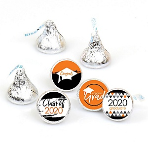 Orange Grad - Best is Yet to Come - Round Candy Labels 2020 Graduation Party Favors - Fits Hershey's Kisses 108 ct