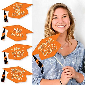 Hilarious Orange Grad - Best is Yet to Come - 20 Piece Orange Graduation Party Photo Booth Props Kit