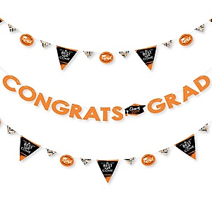 Orange Grad - Best is Yet to Come - 2019 Orange Graduation Party Letter Banner Decoration - 36 Banner Cutouts and Congrats Grad Banner Letters