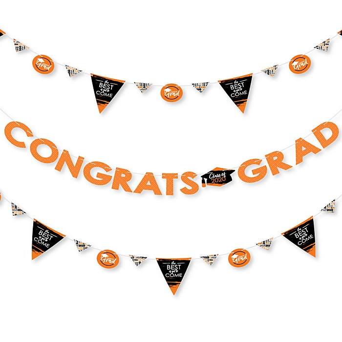 Orange Grad - Best is Yet to Come - 2020 Orange Graduation Party Letter Banner Decoration - 36 Banner Cutouts and Congrats Grad Banner Letters