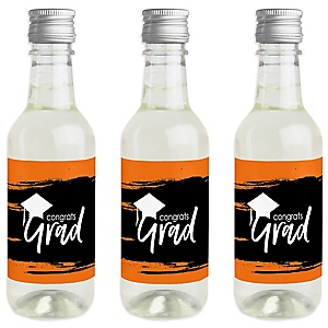 Orange Grad - Best is Yet to Come - Mini Wine and Champagne Bottle Label Stickers - Orange Graduation Party Favor Gift - For Women and Men - Set of 16