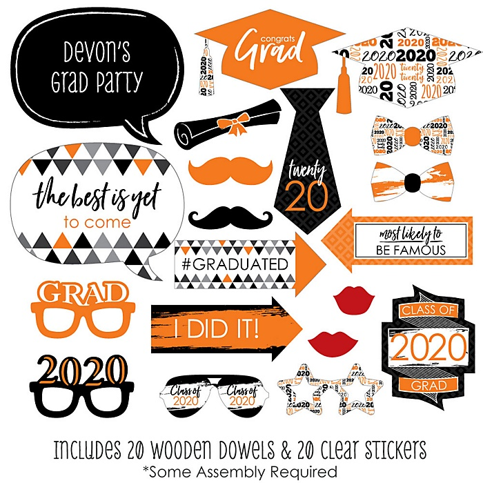 Orange Grad - Best is Yet to Come - 20 Piece 2020 Graduation Party Photo Booth Props Kit