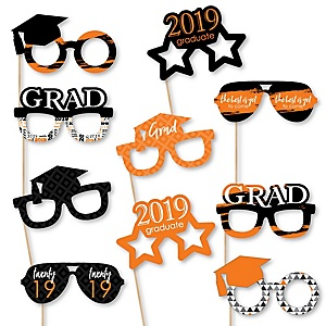 Orange Grad Glasses - Best is Yet to Come - Orange 2019 Paper Card Stock Graduation Party Photo Booth Props Kit - 10 Count