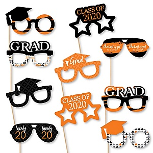 Orange Grad Glasses - Best is Yet to Come - Orange 2020 Paper Card Stock Graduation Party Photo Booth Props Kit - 10 Count