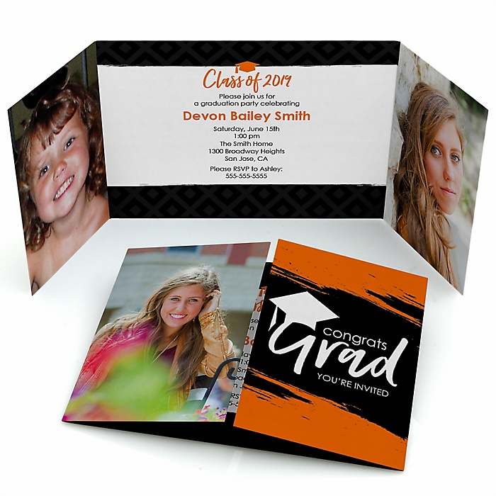 Orange Grad - Best is Yet to Come - Personalized Photo 2019 Graduation Invitations - Set of 12