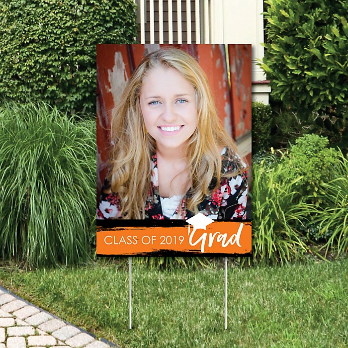 Orange Grad - Best is Yet to Come - Photo Yard Sign - Orange 2019 Graduation Party Decorations