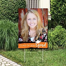 Orange Grad - Best is Yet to Come - Photo Yard Sign - Orange 2020 Graduation Party Decorations