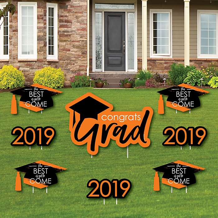 Orange Grad - Best is Yet to Come - Yard Sign & Outdoor Lawn Decorations – 2019 Graduation Party Yard Signs - Set of 8