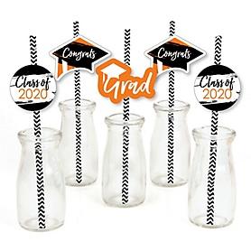 Orange Grad - Best is Yet to Come - Paper Straw Decor - 2020 Graduation Party Striped Decorative Straws - Set of 24