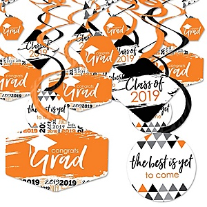 Orange Grad - Best is Yet to Come - 2019 Orange Graduation Party Hanging Decor - Party Decoration Swirls - Set of 40