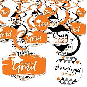 Orange Grad - Best is Yet to Come - 2020 Orange Graduation Party Hanging Decor - Party Decoration Swirls - Set of 40