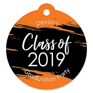 Orange Grad - Best is Yet to Come - Round Personalized 2019 Graduation Party Die-Cut Tags - 20 ct
